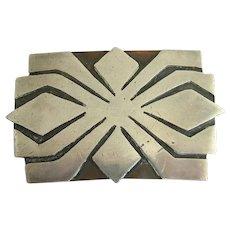 Heintz Sterling Silver Overlay Arts & Crafts Pin Brooch
