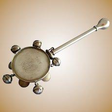 Dominick & Haff Sterling Silver Tamborine Rattle Whistle 1884