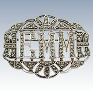 "Art Deco Sterling Silver Marcasite Pin ""EMM"""