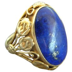 Arts & Crafts 14K Gold Lapis Ring - 1910