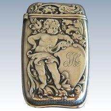 WHITING Art Nouveau Cherub Sterling Silver Match Safe
