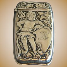 WHITING Art Nouveau Cherub Sterling Silver Match Safe