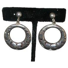 Vintage Sterling Silver Taxco Mexican Earrings Screwbacks