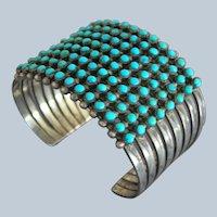 Old Zuni 8 Row Sterling Silver Snake Eye Blue Gem Turquoise Cuff Bracelet