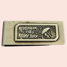 "Modernist Sterling Silver Money Clip ""REMEMBER THE RAINY DAY"""
