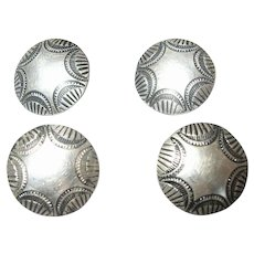 4 Old Native American Navajo Silver Stamp Work Buttons