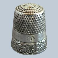 """Antique Simons Bros Sterling Silver Thimble Chased """"Rosettes & Circles"""" C1880s"""