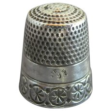 "Antique Simons Bros Sterling Silver Thimble Chased ""Rosettes & Circles"" C1880s"