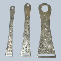 Set of 3 UNGER BROS Sterling Silver Ribbon Threaders / Bodkins Sewing Tools
