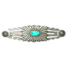 Vintage Sterling Silver Native American Signed Turquoise Stamp Work Pin