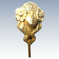 10K Gold Art Nouveau Woman Stickpin