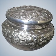 Gorham Sterling Repousse Powder Dresser Jar 1896