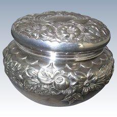 Gorham Sterling Repousse Powder Dresser Jar 1896