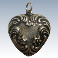 EXTRA BIG Vintage Sterling Silver Puffy Repousse Heart Charm / Pendant