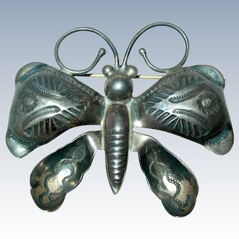 1940's Navajo Hand Stamped Sterling Silver Butterfly Pin