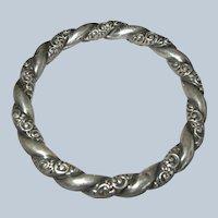 Antique Sterling Silver Repousse Victorian Hollow Bangle Bracelet