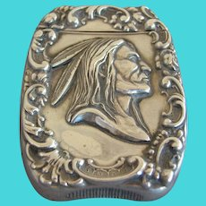 Native American Indian Sterling Silver Antique Match Safe