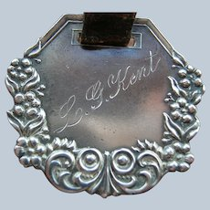 Antique Sterling Silver Repousse Luggage Tag Fob
