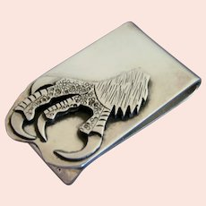 Amazing Sterling Silver Eagle Claw Money Clip - Signed