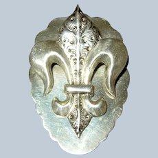 Vintage Sterling Silver Fleur De Lis Letter Paper Desk Clip