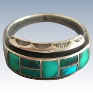 Vintage Native American Zuni Silver Turquoise Ring