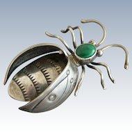 Large Vintage Native American Navajo Sterling Bug Pin