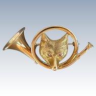 Antique 18K Gold Fox Hunting Pin
