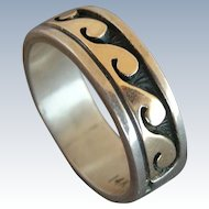 """Navajo """"Peggy Skeet"""" 14k Yellow Gold & 925 Sterling Band Ring - size 6"""