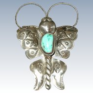 Joe Eby Native American Style Sterling Silver Turquoise Butterfly Pin - 3 1/2""