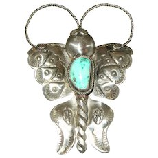 """Joe Eby Native American Style Sterling Silver Turquoise Butterfly Pin - 3 1/2"""""""