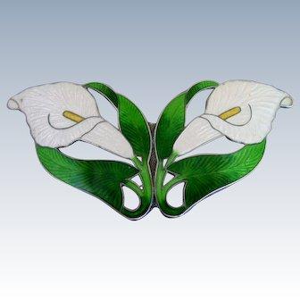 "Lg Antique 3 1/2"" Sterling Silver Enamel Calla Lily Pin Brooch"