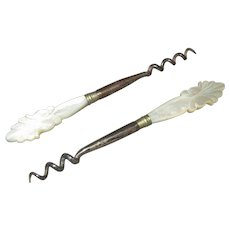 2 MOP Mother of Pearl Victorian Perfume / Medicine Corkscrews / Corkscrew