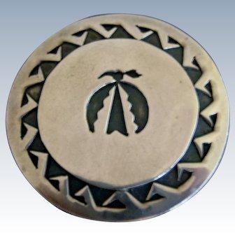 Vintage Hopi Thunderbird Sterling Silver Overlay Pin Brooch