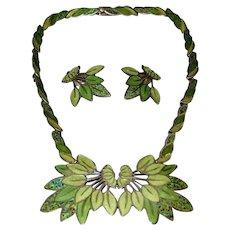 Margot de Taxco Sterling Silver Enamel Necklace & Earrings