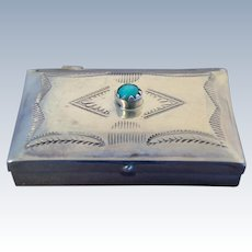 Fred Harvey Era Sterling Turquoise Navajo Stamp Work Pill Box