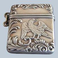 F & B Sterling Silver Eagle Stamp Box Case Safe