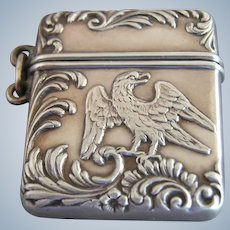 F & B Sterling Silver Eagle Stamp Box Case Safe