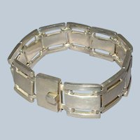 Sleek Modernist Sterling Silver Mexican Alicia Bracelet