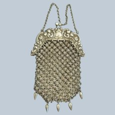 Victorian Sterling Silver Mesh Chatelaine Coin Purse - Signed