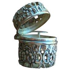 Antique Webster Sterling Silver Thimble Holder Case