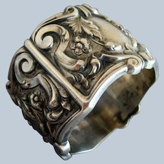 Fancy Repousse Sterling Victorian Napkin Ring   c 1900