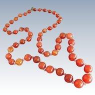 "Art Deco Carnelian & Crystal Beads 29"" Necklace"