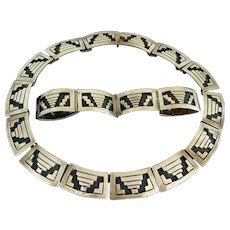 Sterling Silver Los Ballesteros Mexican Necklace and Bracelet Set