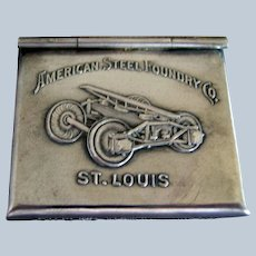 """Sterling Silver Advertising """"American  Steel Foundry"""" Stamp Box Safe"""
