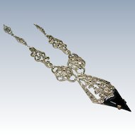 Art Deco Sterling Silver Onyx and Marcasite Necklace - Germany