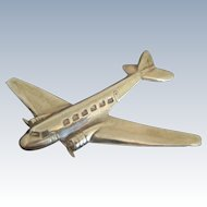 Vintage Sterling Silver Airplane Pin