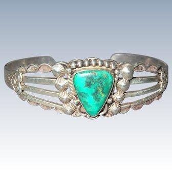 Fred Harvey Era Sterling Silver Turquoise Bracelet Cuff