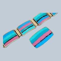 Signed PERLI Matte Enamel Mid-Century Modernist Bracelet & Pendant - Germany