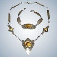 Arts & Crafts Sterling Silver Citrine Necklace & Bracelet