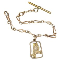 Victorian Gold Filled GF Pocket Watch Chain w Owl  Fob